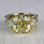 Antique 7 Carat Yellow Diamond Ring - Three Stone Design - small