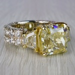 Antique 7 Carat Yellow Diamond Ring - Three Stone Design - small angle 3