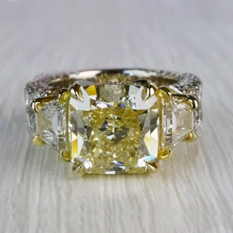 Antique 7 Carat Yellow Diamond Ring - Three Stone Design