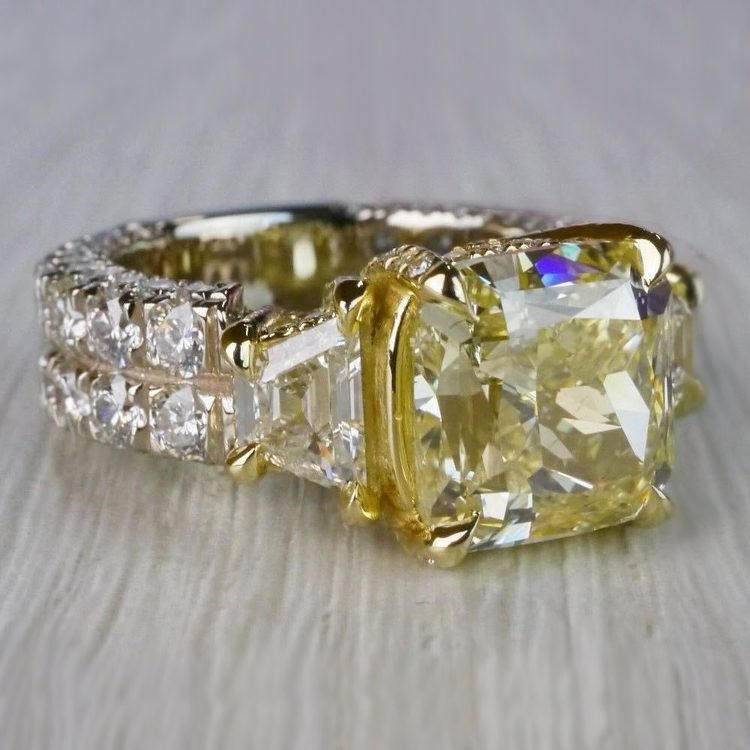 Antique 7 Carat Yellow Diamond Ring - Three Stone Design angle 3