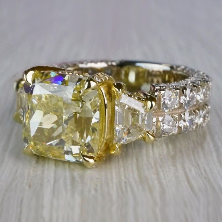 Antique 7 Carat Yellow Diamond Ring - Three Stone Design angle 2