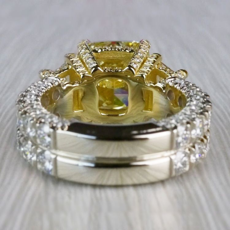 Antique 7 Carat Yellow Diamond Ring - Three Stone Design angle 4