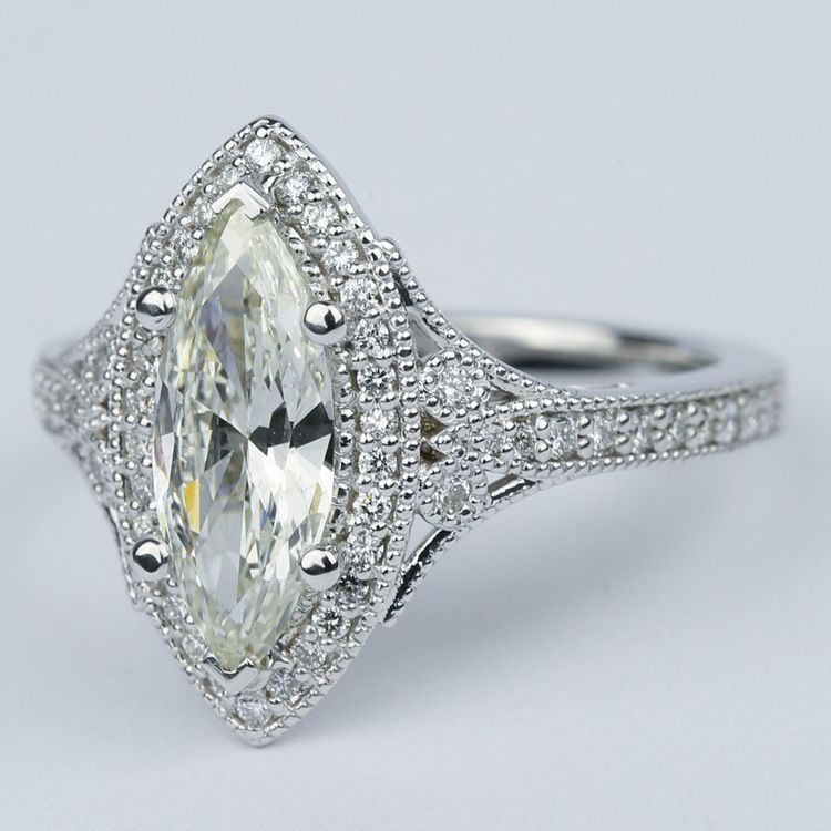 Art Deco Halo Marquise Diamond Engagement Ring (1 Carat) angle 2