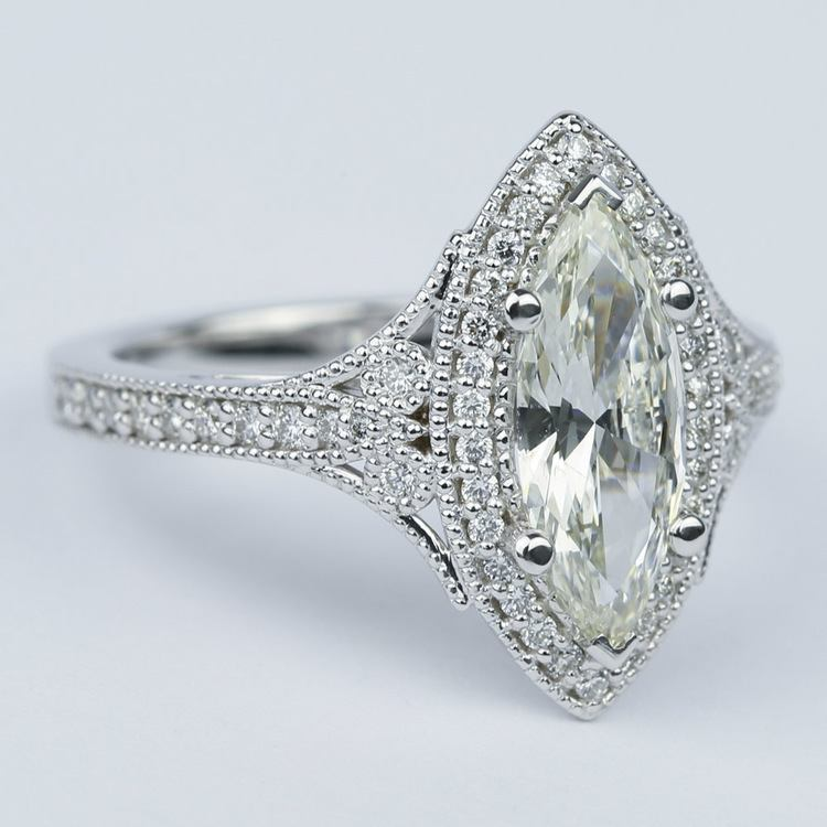 Art Deco Halo Marquise Diamond Engagement Ring (1 Carat) angle 3