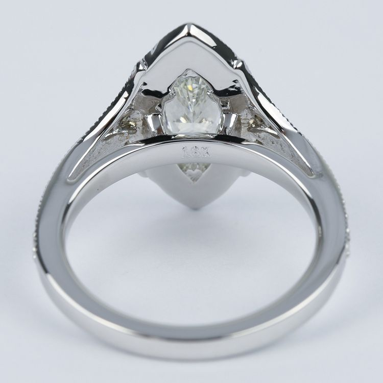 Art Deco Halo Marquise Diamond Engagement Ring (1 Carat) angle 4