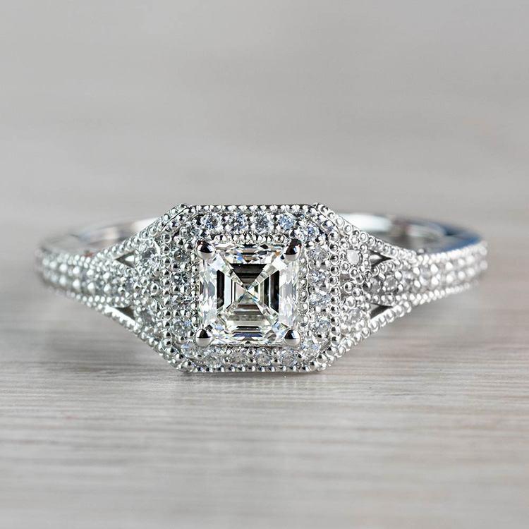 Art Deco Halo Asscher Cut Diamond Engagement Ring