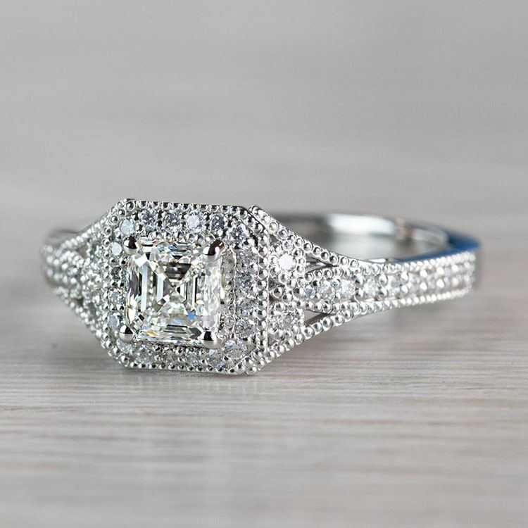 Art Deco Halo Asscher Cut Diamond Engagement Ring angle 2