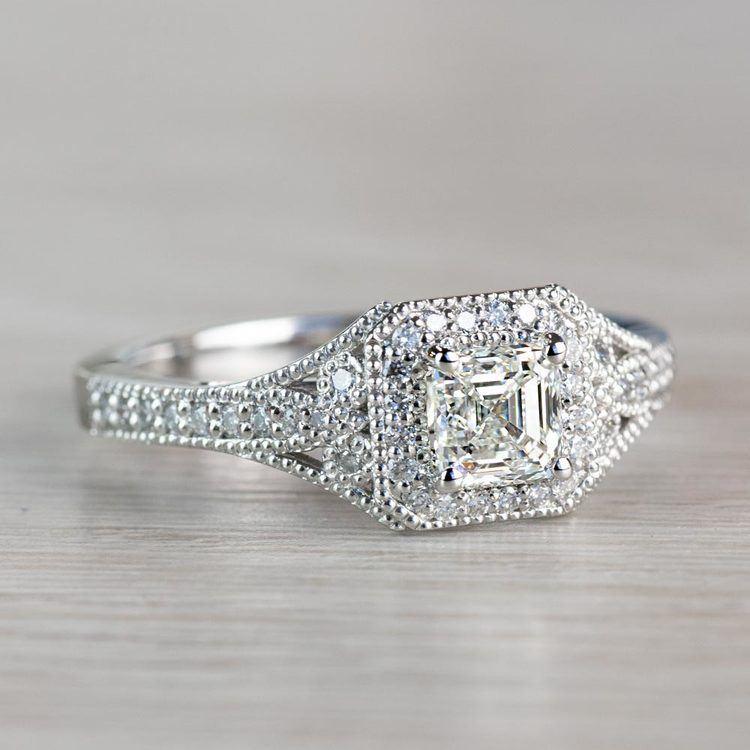 Art Deco Halo Asscher Cut Diamond Engagement Ring angle 3