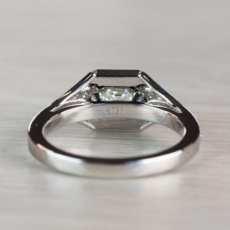 Art Deco Halo Asscher Cut Diamond Engagement Ring angle 4