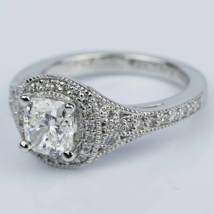 Art Deco Halo Cushion Diamond Engagement Ring (1.05 ct.) angle 2