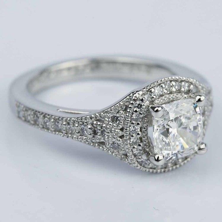 Art Deco Halo Cushion Diamond Engagement Ring (1.05 ct.) angle 3