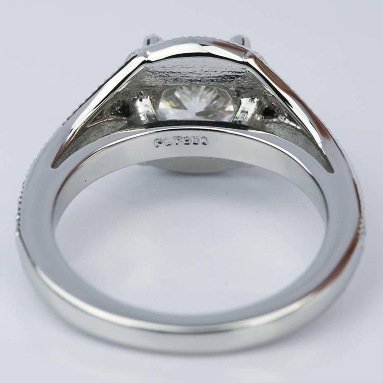 Art Deco Halo Cushion Diamond Engagement Ring (1.05 ct.) angle 4