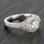 Art Deco Halo Round Diamond Engagement Ring (0.92 ct.) - small angle 3