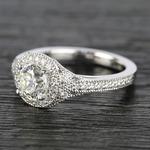 Art Deco Halo Round Diamond Engagement Ring (0.92 ct.) - small angle 2