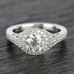 Art Deco Halo Round Diamond Engagement Ring (0.92 ct.) - small