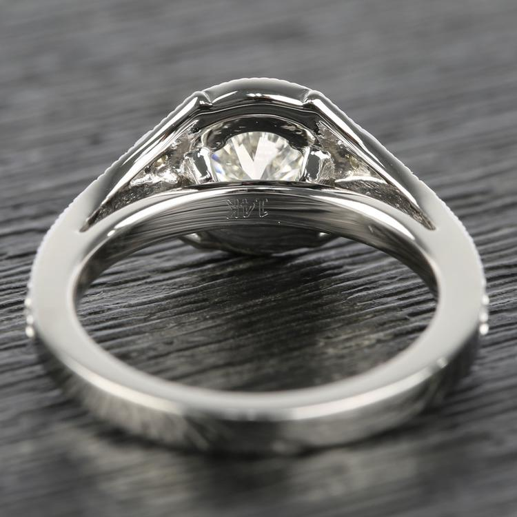 Art Deco Halo Round Diamond Engagement Ring (0.92 ct.) angle 4