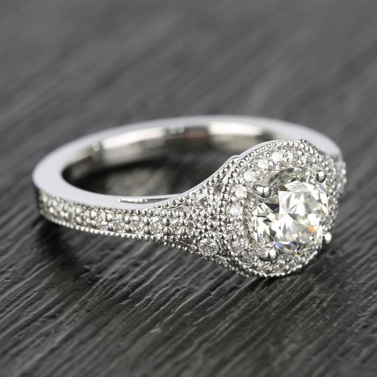 Art Deco Halo Round Diamond Engagement Ring (0.92 ct.) angle 3
