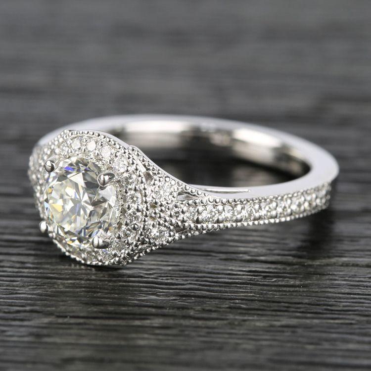 Art Deco Halo Round Diamond Engagement Ring (0.92 ct.) angle 2