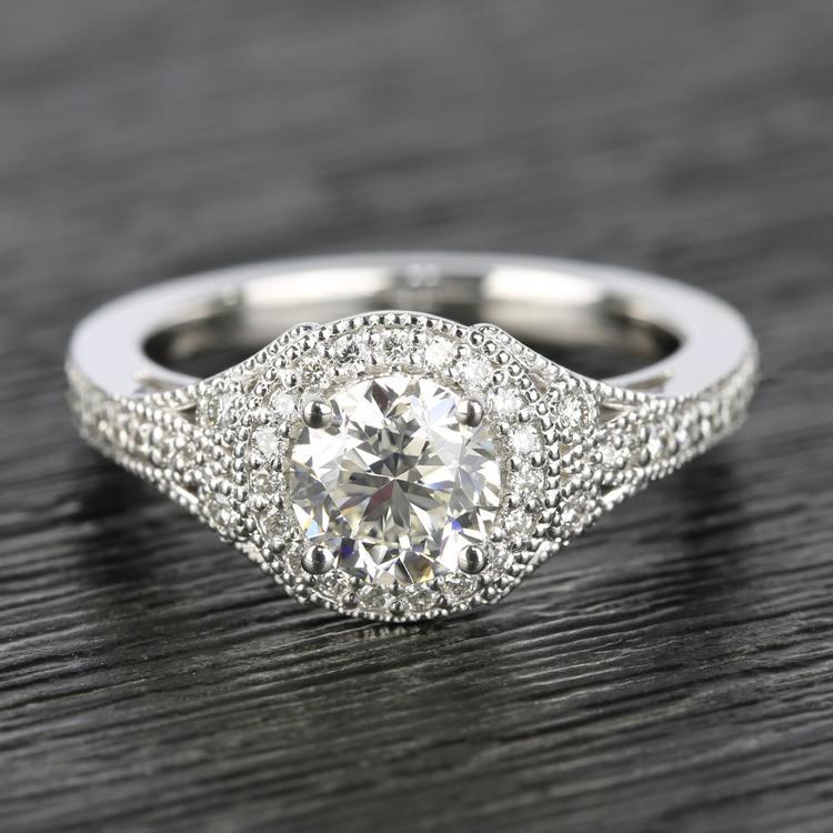 Art Deco Halo Round Diamond Engagement Ring (0.92 ct.)