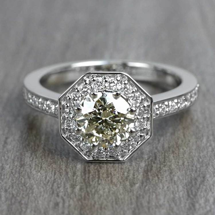 Art Deco Style 0.80 Round Carat Halo Diamond Ring