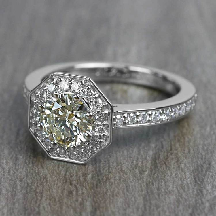 Art Deco Style 0.80 Round Carat Halo Diamond Ring angle 2