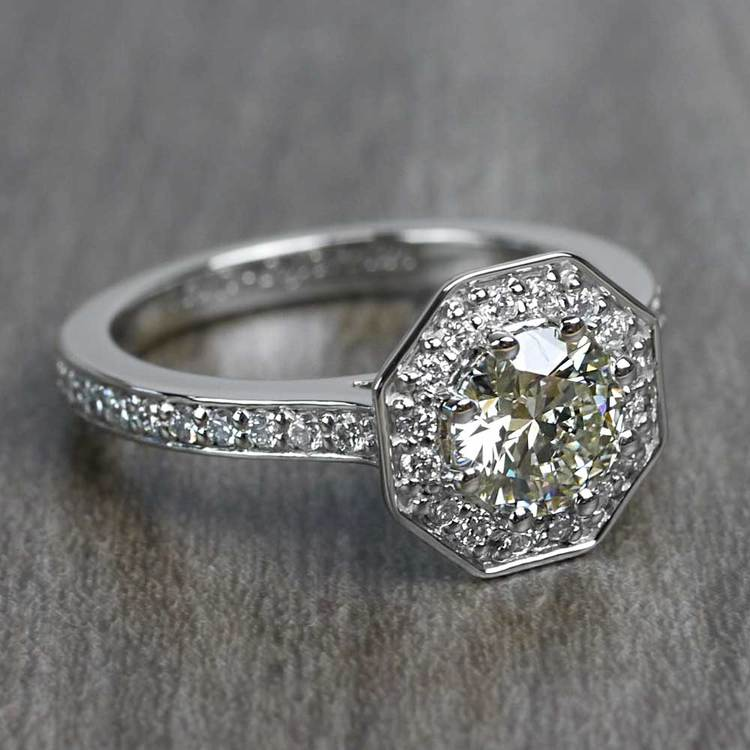 Art Deco Style 0.80 Round Carat Halo Diamond Ring angle 3