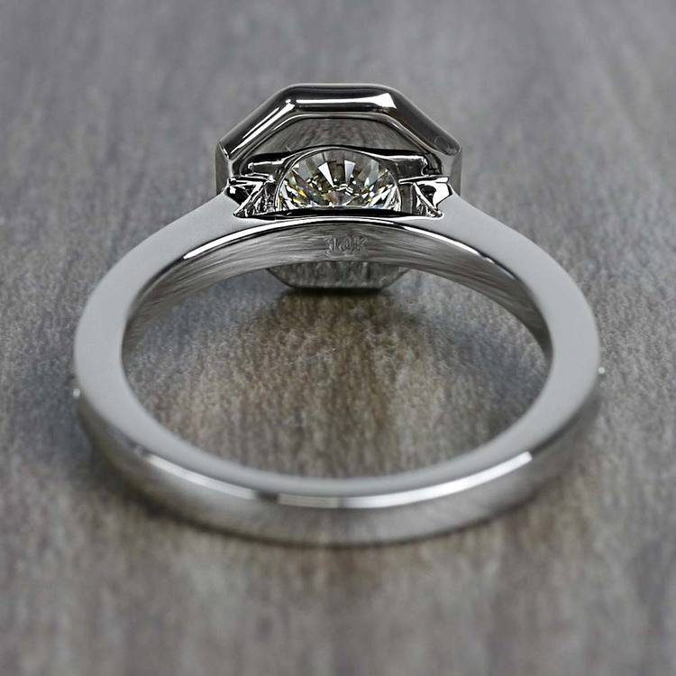 Art Deco Style 0.80 Round Carat Halo Diamond Ring angle 4