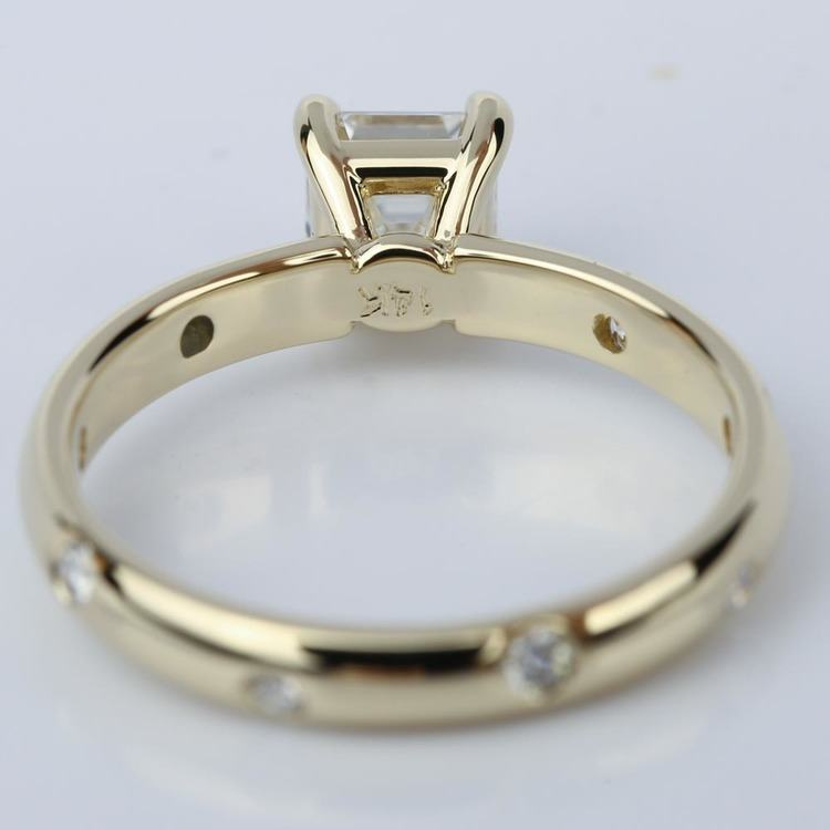 Asscher Cut Inset Diamond Engagement Ring in Yellow Gold (1.01 ct.) angle 4