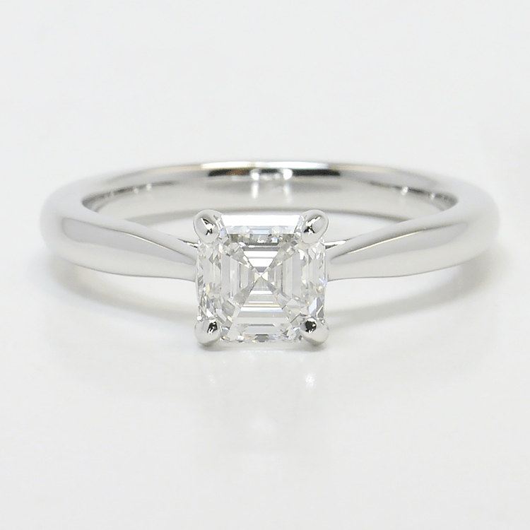 1 Carat Tapered Asscher Solitaire Diamond Engagement Ring