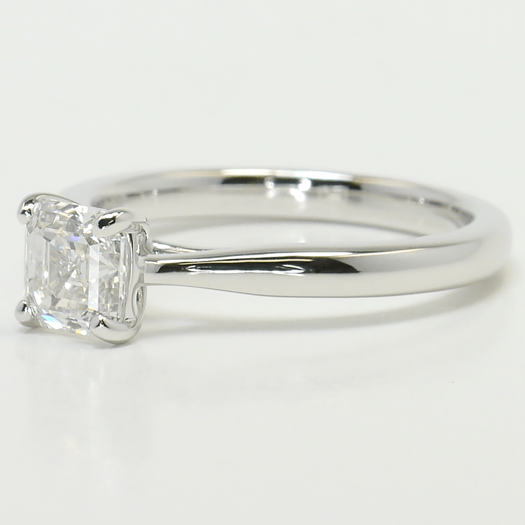1 Carat Tapered Asscher Solitaire Diamond Engagement Ring angle 2