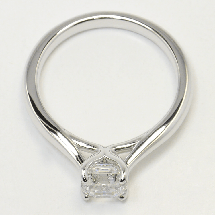 1 Carat Tapered Asscher Solitaire Diamond Engagement Ring angle 4