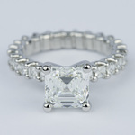 Asscher Eternity Diamond Engagement Ring in Platinum - small