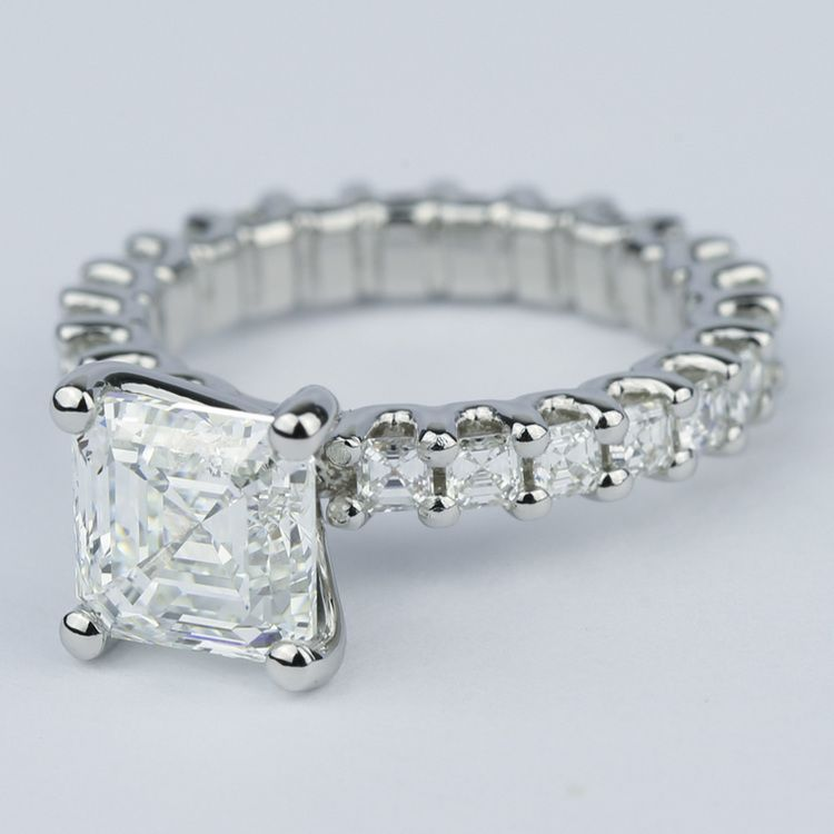 Asscher Eternity Diamond Engagement Ring in Platinum angle 2
