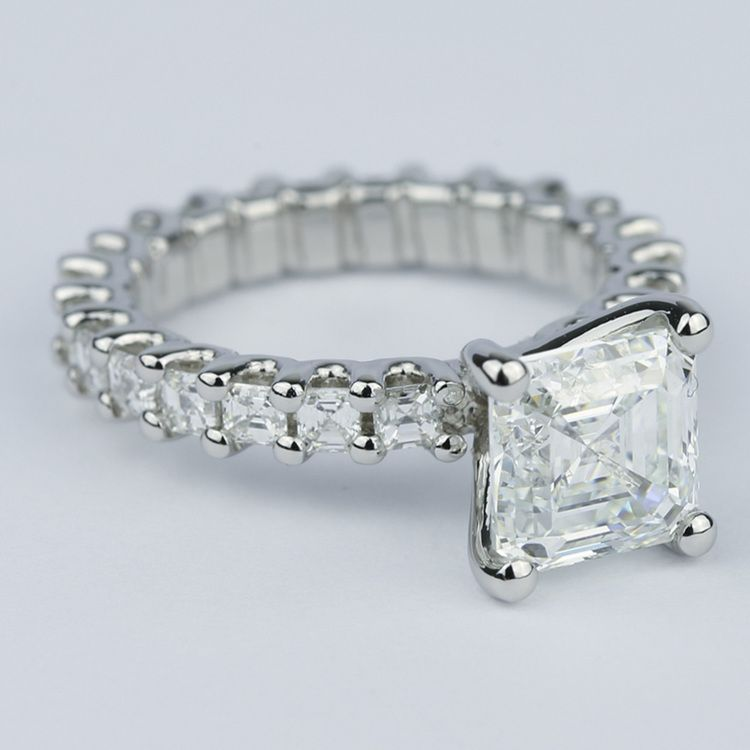 Asscher Eternity Diamond Engagement Ring in Platinum angle 3