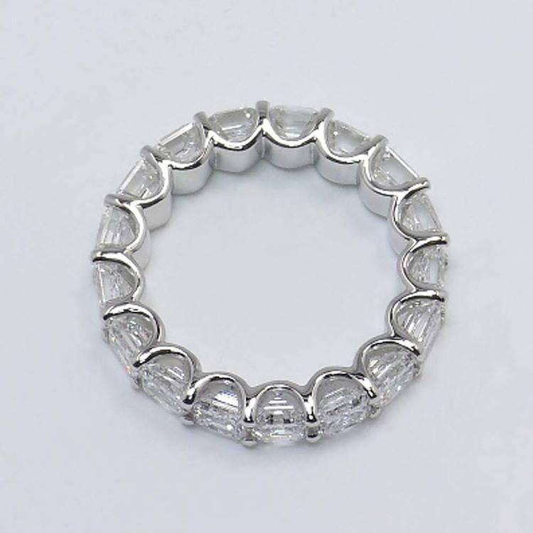6 Carat U-Prong Asscher Diamond Eternity Band angle 2