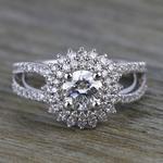 0.90 Carat Round Sunburst Halo Diamond Engagement Ring - small