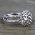 0.90 Carat Round Sunburst Halo Diamond Engagement Ring - small angle 3