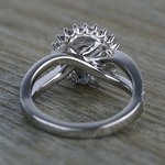 0.90 Carat Round Sunburst Halo Diamond Engagement Ring - small angle 4
