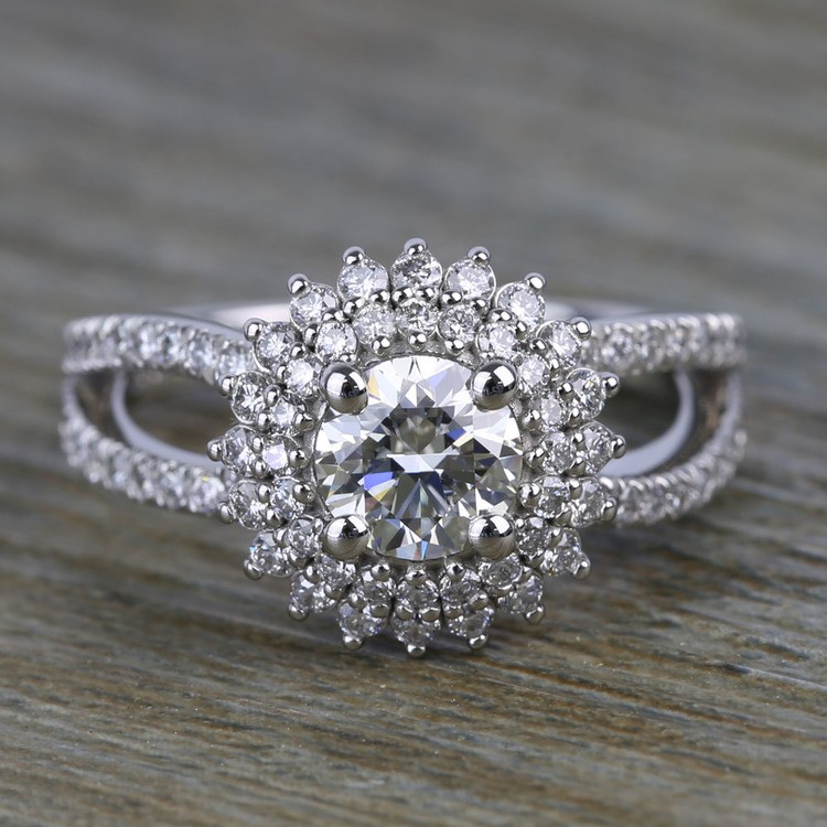 0.90 Carat Round Sunburst Halo Diamond Engagement Ring