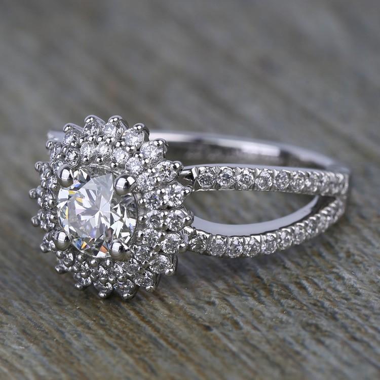 0.90 Carat Round Sunburst Halo Diamond Engagement Ring angle 2