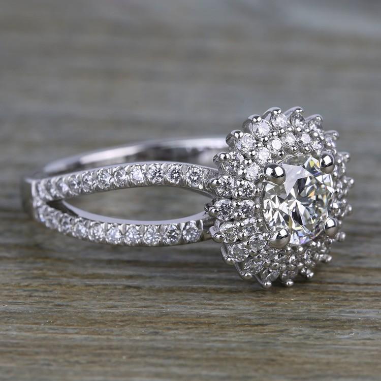 0.90 Carat Round Sunburst Halo Diamond Engagement Ring angle 3