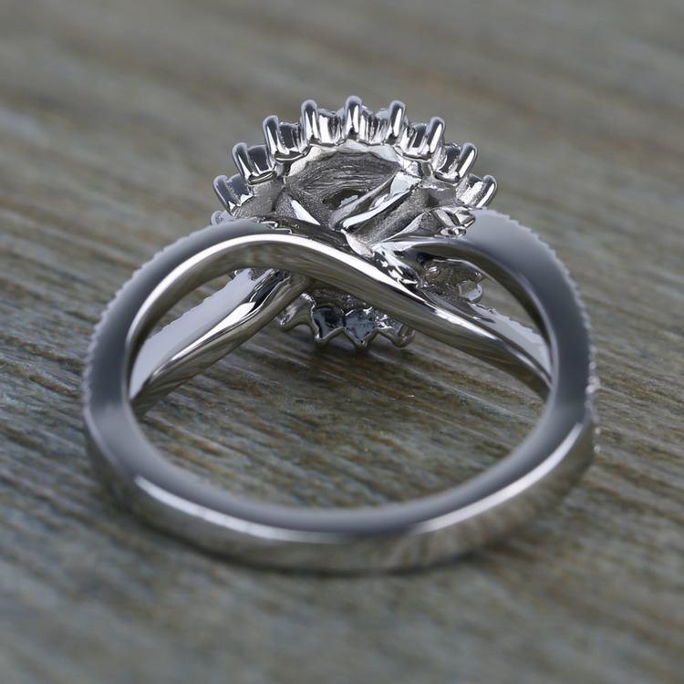 0.90 Carat Round Sunburst Halo Diamond Engagement Ring angle 4