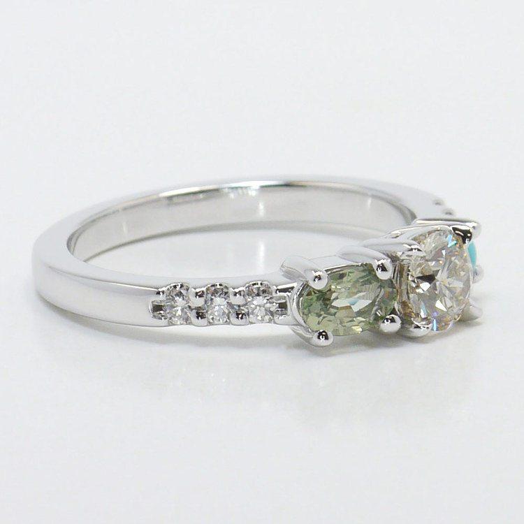 Asymmetrical Custom Diamond and Gemstone Ring angle 3