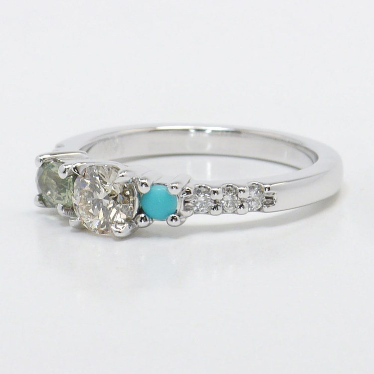 Asymmetrical Custom Diamond and Gemstone Ring angle 2