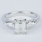 Emerald Diamond Engagement Ring with Baguette Diamonds in 18k White Gold - small