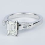 Emerald Diamond Engagement Ring with Baguette Diamonds in 18k White Gold - small angle 2