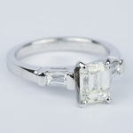 Emerald Diamond Engagement Ring with Baguette Diamonds in 18k White Gold - small angle 3