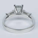 Emerald Diamond Engagement Ring with Baguette Diamonds in 18k White Gold - small angle 4