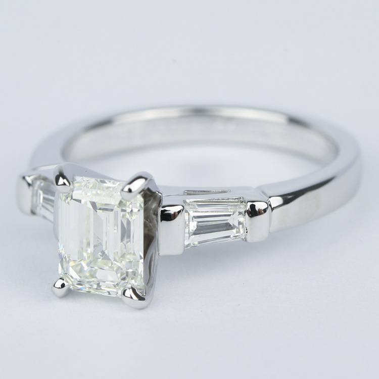 Emerald Diamond Engagement Ring with Baguette Diamonds in 18k White Gold angle 2