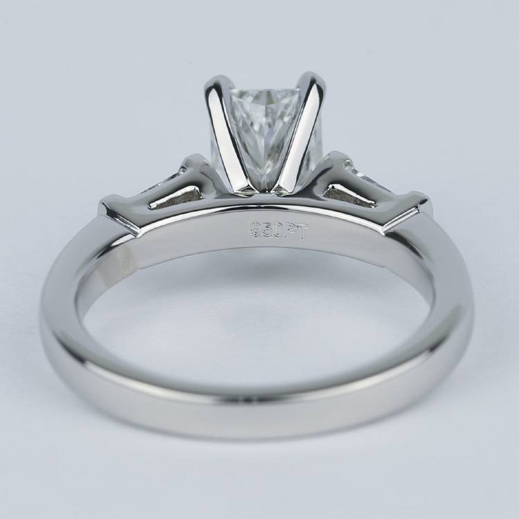 Radiant Diamond Engagement Ring with Baguette Side Diamonds angle 4